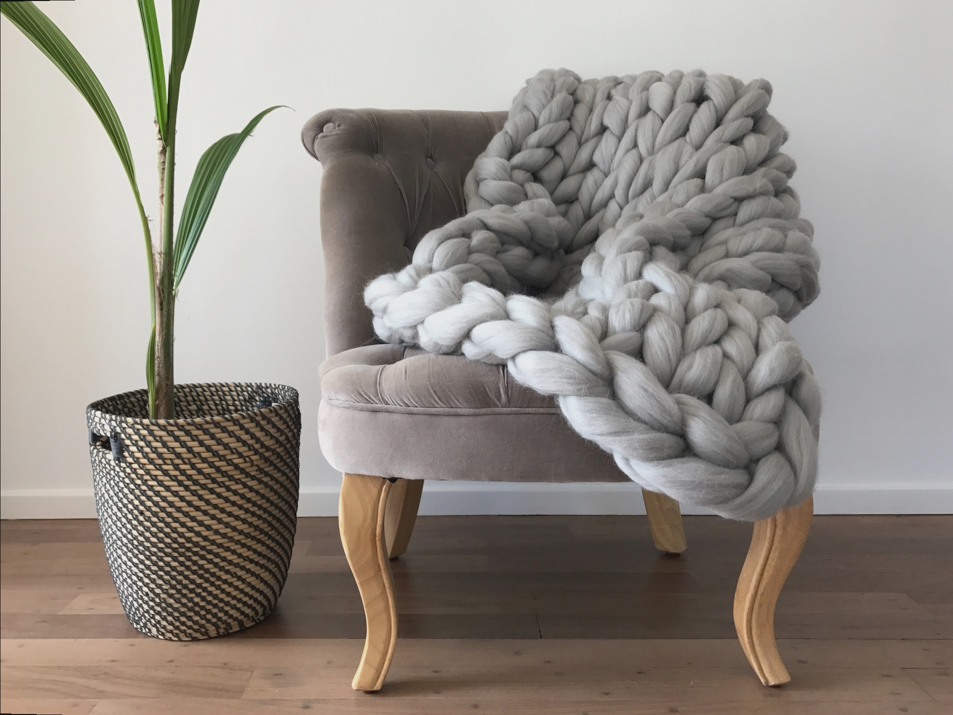 Super chunky grey merino blanket ComfyWool