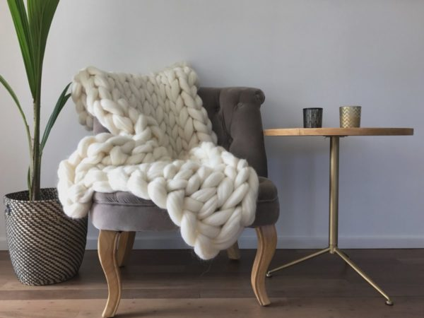 Hand knitted super chunky merino blanket ComfyWool