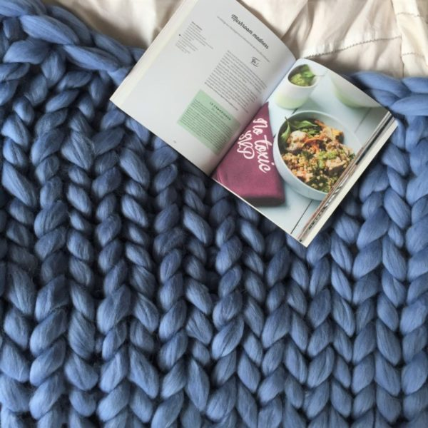 SuperChunk Merino sky blue square blanket comfywool